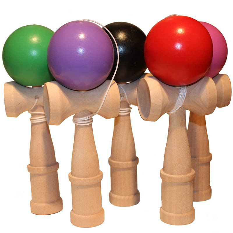 1pc Bamboo PU Paint Wooden Kendama Balls Skillful Jumbo Outdoors Juggle Game Balls Toys For Gift Professional Wooden Rock
