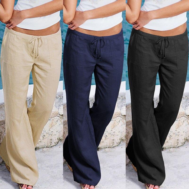 ZANZEA 2019 New Cotton Linen Pants Women Wide Leg Pants Casual Solid Long Trousers Work Office Pantalones Streetwear Sweatpants