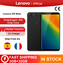 Global Version Lenovo K9 Note 3GB 32GB 6 inch Smartphone Snapdragon 450 Octa Core Face ID Android 8.1 16MP Camera