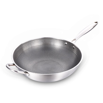 Stainless Steel Wok Thick Honeycomb Handmade Frying Pan Non Stick Non Rusting Gas/Induction Cooker Pan Kitchen Cookware new non stick frying pans double sided screen honeycomb stainless steel wok without oil smoke frying pan wok pfoa free