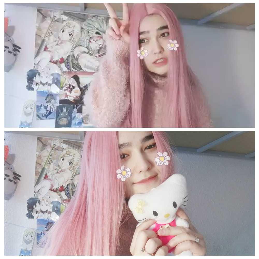 Wignee, peluca de pelo sintético larga y recta rosa para mujer, paquete de cabello con cierre diario/juego de fiesta de peluca paquete precoloreado