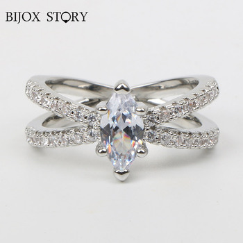 Anillo con abalorio de plata de ley 925 de BIJOX STORY con forma ovalada de 6*12mm, anillo de piedra preciosa de zirconia AAA a la moda para compromiso de boda y Mujer