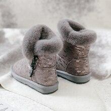 SWYIVY שלג מגפי נשים 2019 חדש חורף פרווה נעלי כותנה מרופדת חם קרסול מגפי נקבה צד רוכסן החורף מזדמן אתחול snowboots