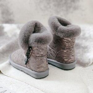 Image 1 - SWYIVY kar botları kadın 2019 yeni kış kürk ayakkabı pamuk yastıklı sıcak yarım çizmeler kadın yan fermuar kış rahat çizme Snowboots