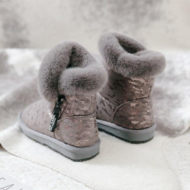 SWYIVY kar botları kadın 2019 yeni kış kürk ayakkabı pamuk yastıklı sıcak yarım çizmeler kadın yan fermuar kış rahat çizme Snowboots