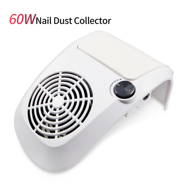 60W Powerful Nail Dust Suction Collector Vacuum Cleaner with 2 Dust Collecting Bag Nail Art Equipment Nail Salon Tools