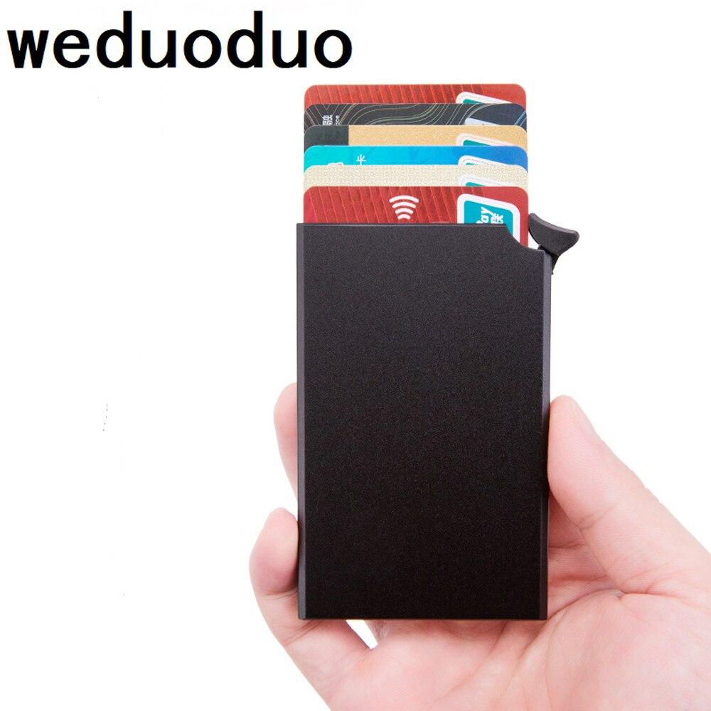 Weduoduo 2019 Blocking Wallet RFID Credit Card Holder Black Card Holder Aluminum Slim Metal Card ID Holder