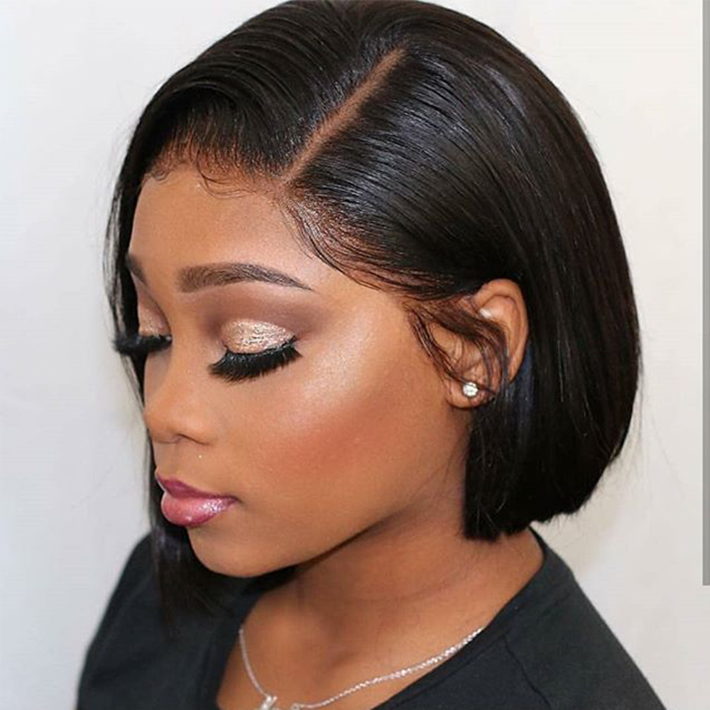 Transparent Lace 13*6 Lace Front Human Hair Wigs Brazilian Straight Short Bob Wig Pre Plucked With Baby Hair Remy Wigs Aimoonsa