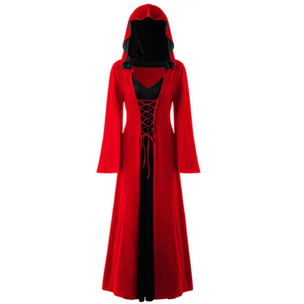 Kobiety retro w stylu średniowiecznym sukienka gotycka przebranie na halloween z kapturem Plus rozmiar damska sukienka gotycka czarna bandaż damska sukienka ciemne kobiety
