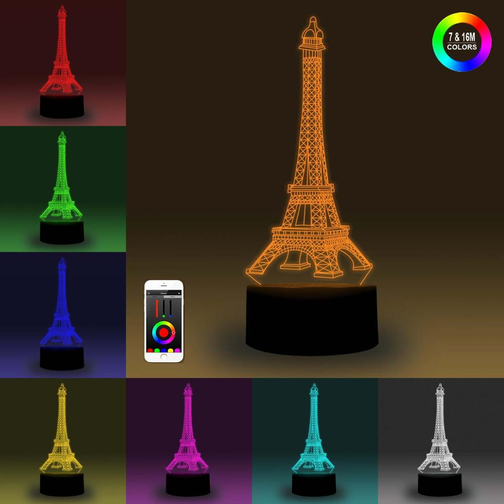 NiteApps 3D Eiffel Tower Night Light Desk Table Illusion Decoration Lamp Holiday Birthday Gift APP/Touch Control