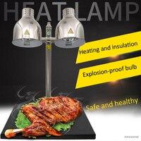 Doppel-kopf Buffet essen isolierung tisch lampe Infrarot wärme lampe essen warm halten lampe Marmor