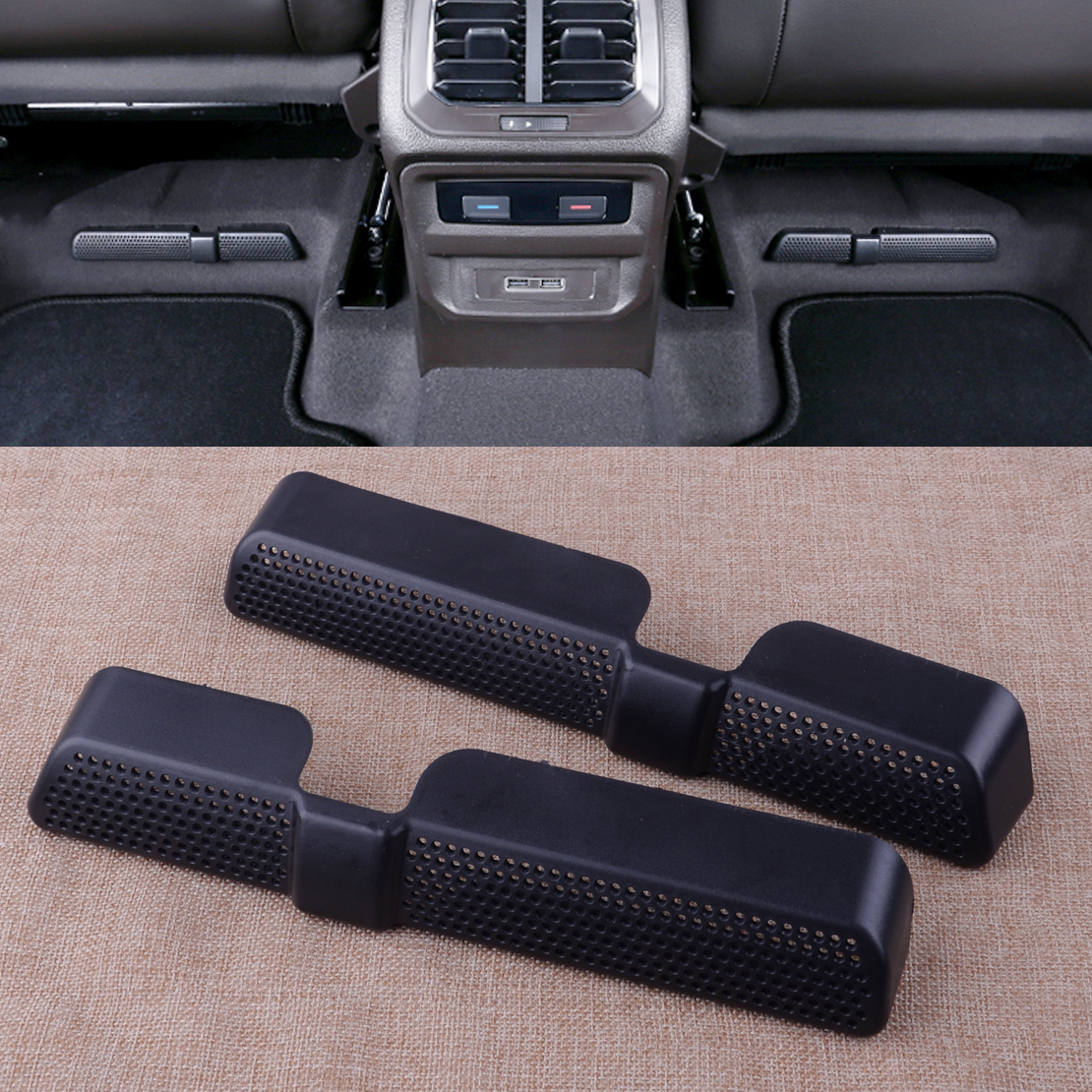 Beler 2pcs Black ABS Rear Seat Air Condition Vent Outlet Dust Protector Cover Trim Fit For VW Tiguan 2017 2018 2019