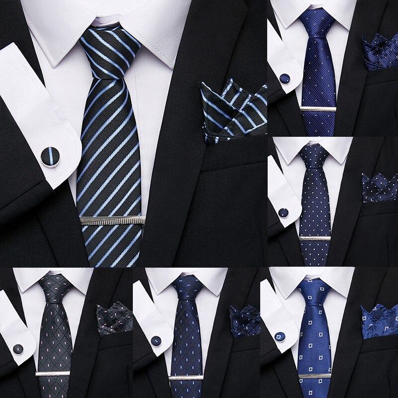 Designer Men's Ties Geometric Black Blue Stripe 7.5cm 100%Silk Jacquard Necktie Formal Dress Accessories Cravat Wedding Mens Tie