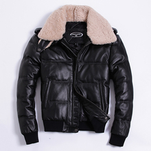 Men Winter Down Jacket Genuine Cowhide Leather Jackets Duck Down Coat for Men Plus Size 2019 Doudoune HommeHA-805 KJ1143 cheap ZVAQS REGULAR Casual zipper Full Pockets Zippers Thick (Winter) Polyester White duck down NONE 300g Solid Short Black