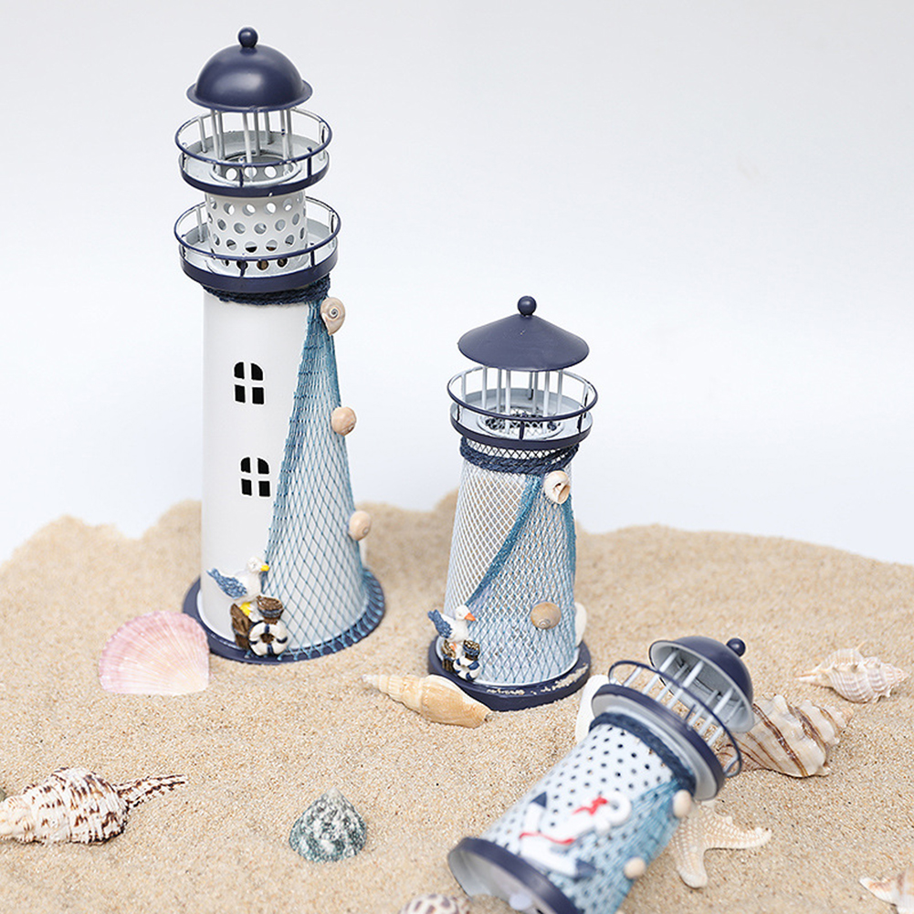 Creative Lighthouse Shaped Night Lights Mediterranean Style Iron Art Table Lamps Battery Powered Light Bedroom Decorations