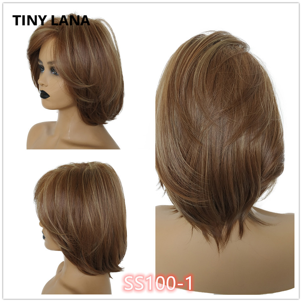 TINY LANA Short Styles Brown Synthetic Hair Wigs For Women  Wig Mix Brown And Blonde 613 Natural Wigs Cosplay Wig