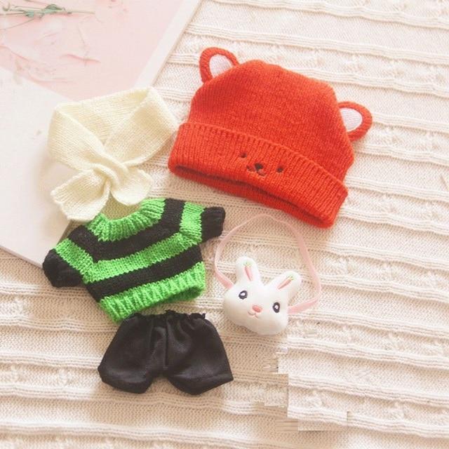[MYKPOP] vêtements de poupée/accessoires (5 pièces) chapeau + Scaft + pull + pantalon + sac à bandoulière (sans poupée) pour 20cm poupées Fans cadeau SA20200703