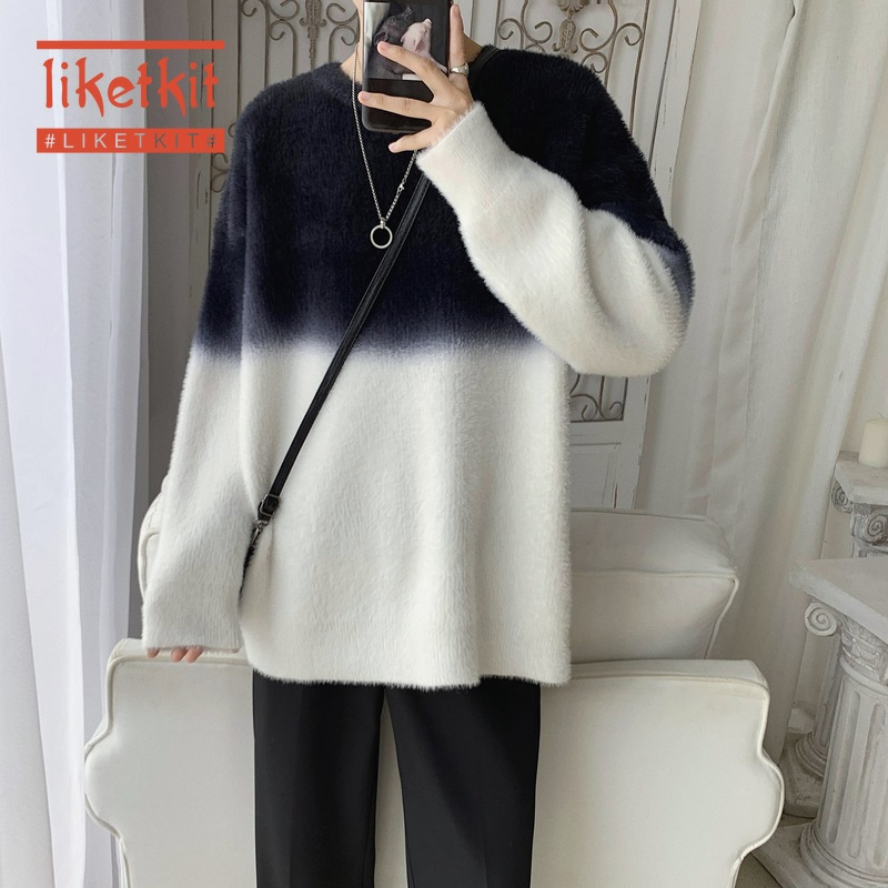Liketkit Men Casual Knitted Sweaters Spring 2020 Color Patchwork O-Neck Sweater Male Vintage College Style Oversized Pullovers