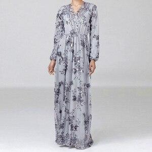 Image 3 - יוקרה מוסלמי רקמה העבאיה תחרה פאייטים מלא שמלת ערב המפלגה קימונו Vestidos ארוך שמלות גלימת Jubah עיד הרמדאן אסלאמי