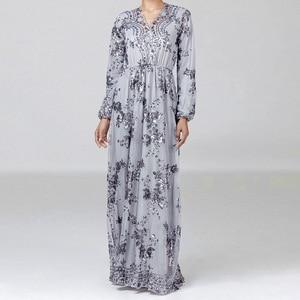 Image 3 - Luxe Moslim Borduurwerk Abaya Kant Pailletten Volledige Avondjurk Party Kimono Vestidos Lange Gewaad Toga Jubah Eid Ramadan Islamitische