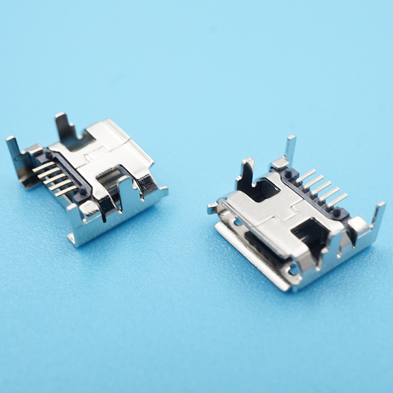Купить 50 шт/лот micro usb разъем 5pin dip4 гнездо с завивкой сторона