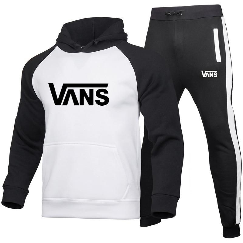 Men's Suit Casual Sports 2 Colors Splicing Hoodie + Pants Autumn And Winter Warm Sportswear Men And Women Boutique 2 Piece Set