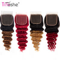Tinashe-mechones de pelo humano brasileño Remy 1B 27 30 rojo borgoña, cierre de encaje suizo, con onda de encaje profundo, degradado