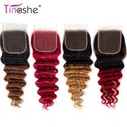 Tinashe luźne głęboka fala koronki zamknięcie Ombre 1B 27 30 czerwony burgundii Remy Ombre brazylijski ludzki włos szwajcarska koronka zamknięcie