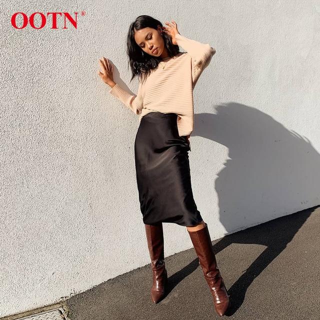 OOTN Casual Silk Black Skirt Women Summer Autumn Knee-Length Office Lady High Waist Elegant Satin Skirts Ladies 2019 Fashion 5