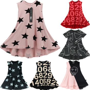 2020  Summer Girls Dress Party Princess Dresses Baby Gril Clothes Children Fashion Brand Kids Costume Printing