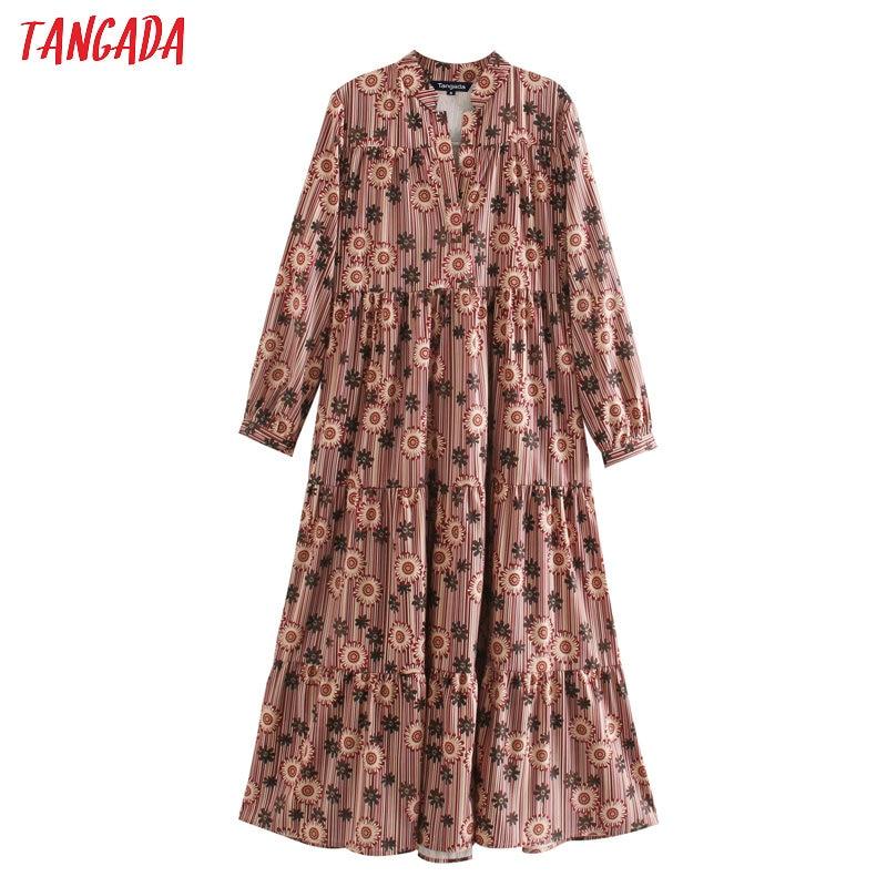 Tangada fashion women flowers striped print maxi dress v neck long sleeve ladies vintage long dress vestidos 5Z31