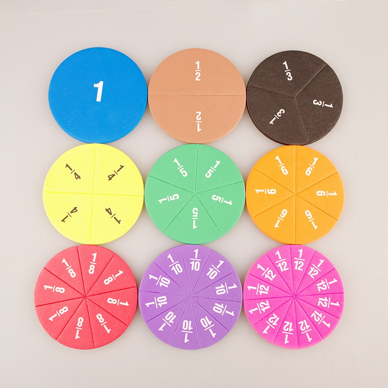 51pcs Rainbow Circular Numbered Fractions Counting Chips Educational Math Stationery Materials Mathematics Learning Kids Gifts