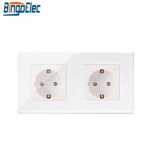 Image 2 - Bingoelec EU Standard Double Power Socket Germany Type 16A Wall Socket White Crystal Toughened Glass Panel 86*157mm 220V AC