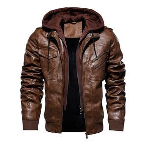Image 2 - 新しい男性付きのジャケット秋の冬のオートバイの Pu ジャケットコート 2019 ファッションスリムフィット男性ジッパーボンバージャケット 4XL