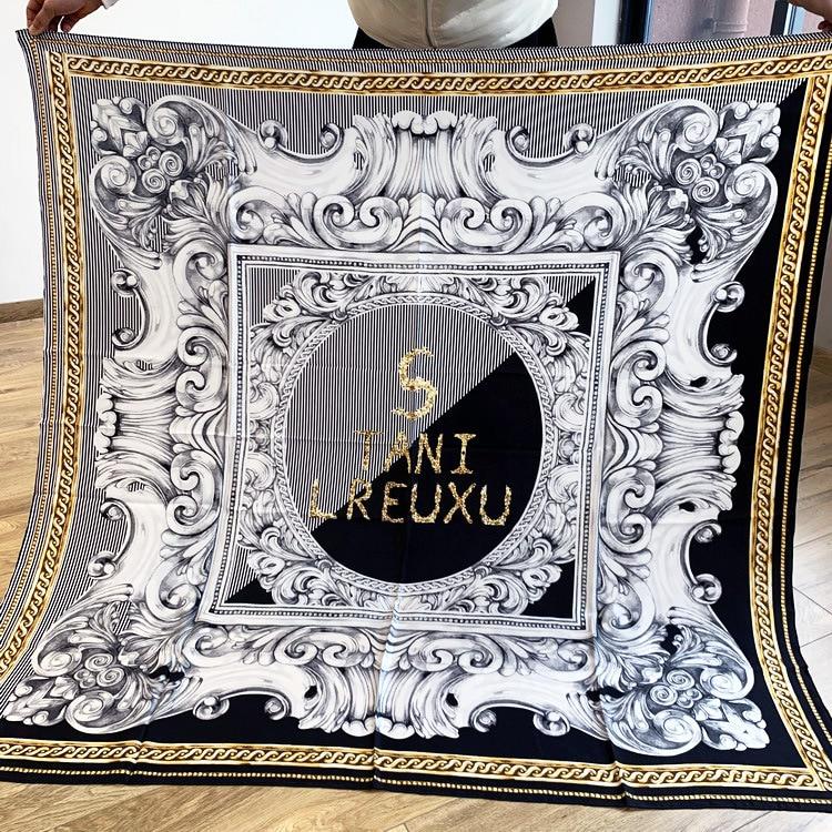 Black Golden Color Scarf 100% Twill Silk Scarf Square Large Bandana Shawl Wrap Pashmina 140*140cm