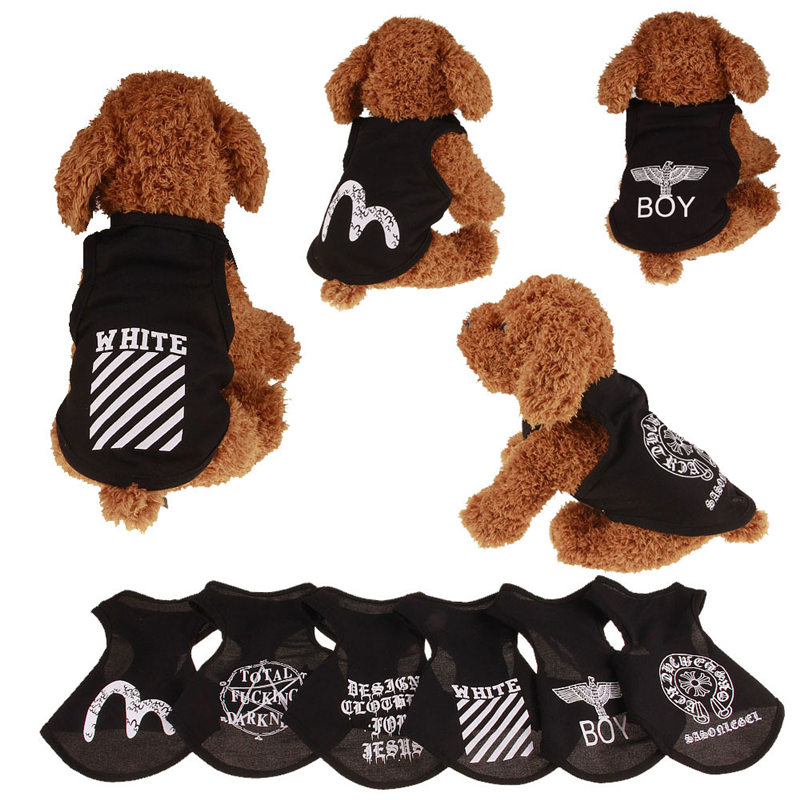 Fashion Summer Pets Tshirt Puppy Dog Clothes Pet Cat Vest Cotton T Shirt Pug Apparel Costumes Dog Clothes for Small Dogs