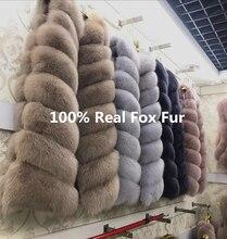 100% Natural Real Fox Fur Vest Elegant Long Thick & Warm Winter Jacket Women Plus Size Coat Manteau Femme 90cm