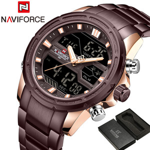 Image 2 - Naviforce relógios masculinos marca de luxo militar à prova dwaterproof água led digital esporte relógio masculino aço inoxidável 9138