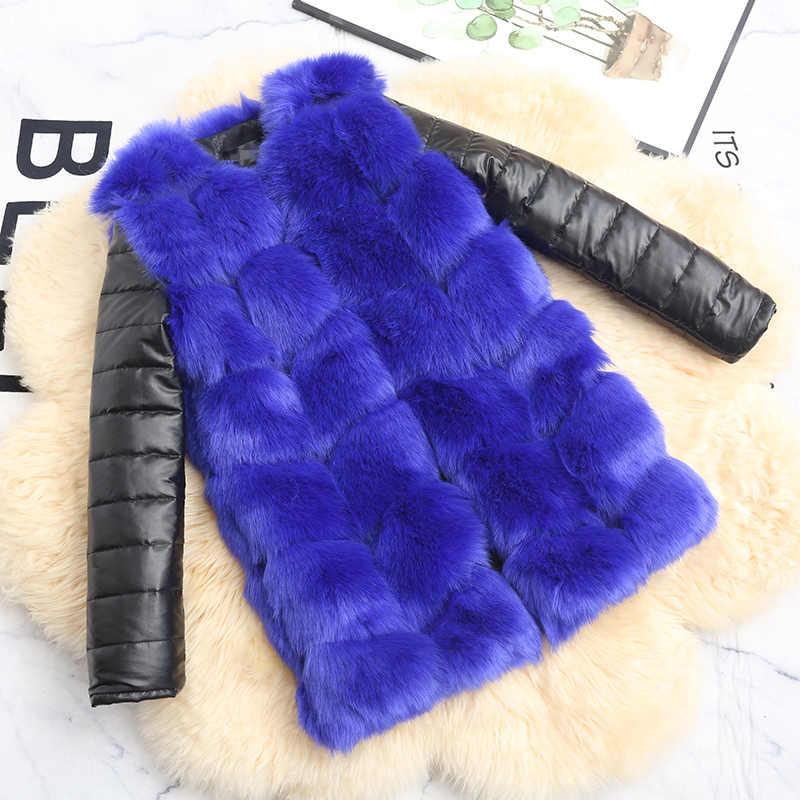 LEDEDAZ 2019 New Fashion Fluffy Faux Fur Coat Caldo DELL'UNITÀ di elaborazione Cappotto di Pelliccia Finta Pelliccia di Volpe Giacca A Maniche Lunghe Più Il Formato autunno Tuta Sportiva di Inverno