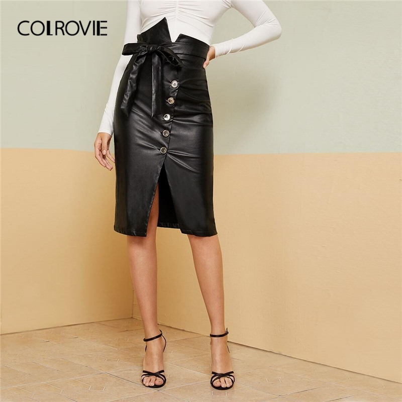 COLROVIE Black Notched Waist Button Fly Belted PU Skirt Women High Waist Bodycon Skirt 2019 Fall Ladies Elegant Midi Skirts