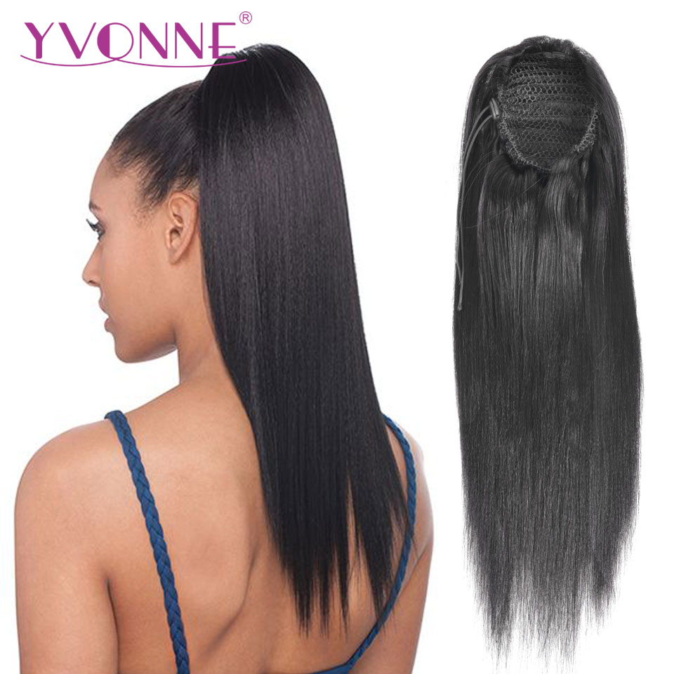 Yvonne Brazilian Yaki Straight Ponytail Human Hair Clip In Extensions Virgin Hair Drawstring Ponytail 1 Piece Natural Color