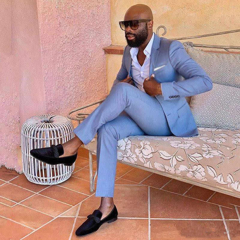 2 Stuks (Jas + Broek) blauw Casual Business Men Suits Voor Wedding Suits Man Smoking Slim Fit Gekerfd Revers Terno Masculino Beste Ma