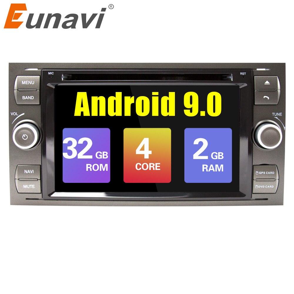 Eunavi 2 din Android 9.0 samochodowy odtwarzacz dvd radio stereo gps dla forda Mondeo s-max Focus C-MAX Galaxy Fiesta forma Fusion Multimedia PC DSP