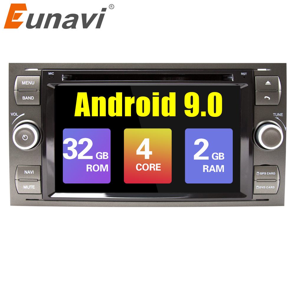 Eunavi 2 din Android 9.0 Car DVD <font><b>GPS</b></font> Radio stereo For <font><b>Ford</b></font> Mondeo S-max Focus C-MAX Galaxy <font><b>Fiesta</b></font> Form Fusion Multimedia PC DSP image