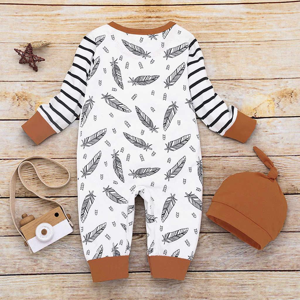 Otoño Boutique niños conjunto bebé niña pluma rayado manga larga mameluco mono con ropa de bolsillo + conjunto de sombrero rupas infantis @ 47