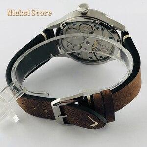Image 5 - Corgeut Reloj de 44mm para hombre correa de cuero con carcasa plateada, 17 joyas, cuerda mecánica 6497, movimiento manual, reloj deportivo luminoso