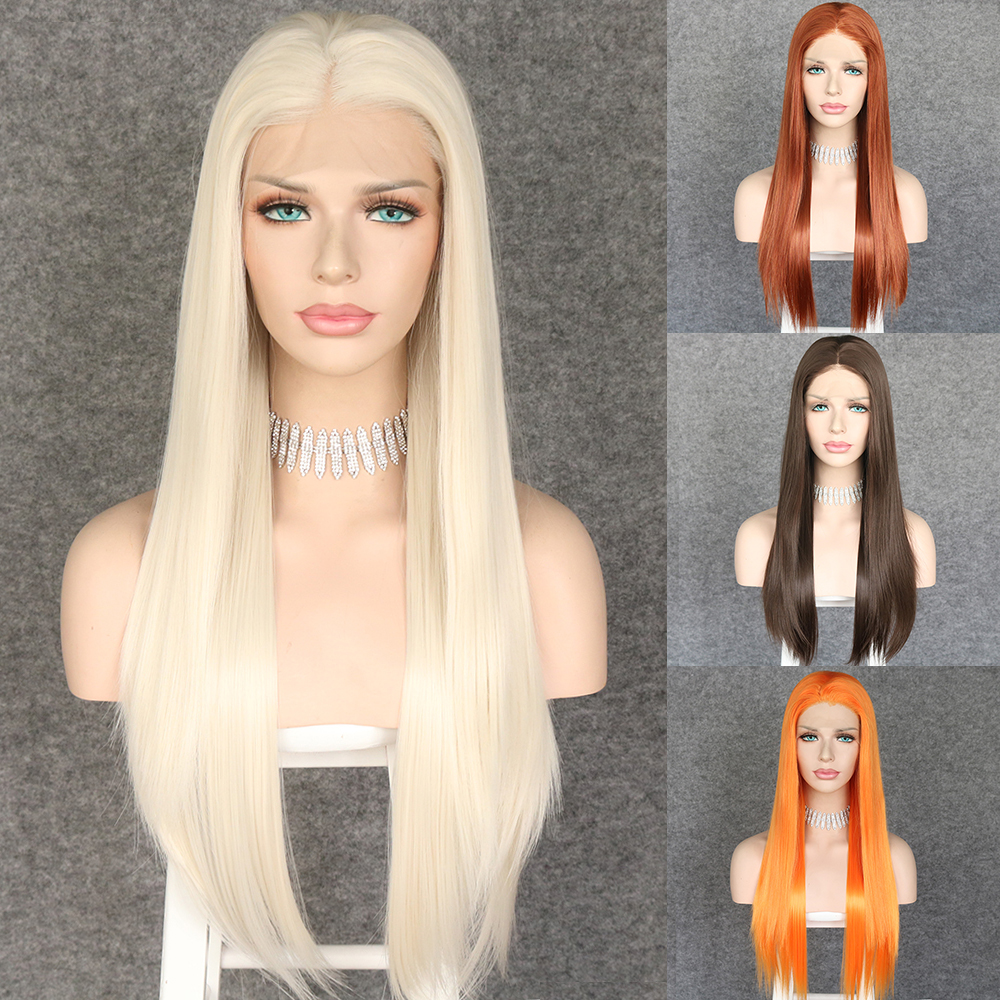 Lvcheryl Synthetic Lace Front Wigs White Blonde Long Straight Heat Resistant Hair Wigs For Women
