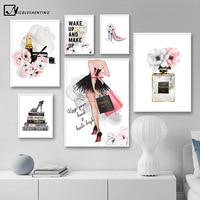 أحمر الشفاه العطور عالية الكعب موضة ملصق ماكياج الأزهار طباعة قماش الفن اللوحة جدار صورة الحديثة فتاة غرفة ديكور المنزل