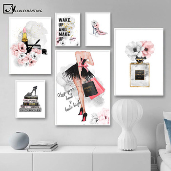 Lipstick Perfume High Heels Fashion Poster Makeup Floral Print Canvas Art Painting Wall Picture Modern Girl Room Home Decoration perfume fashion poster eyelash lips makeup print canvas art painting pink flower wall picture modern girl room home decoration