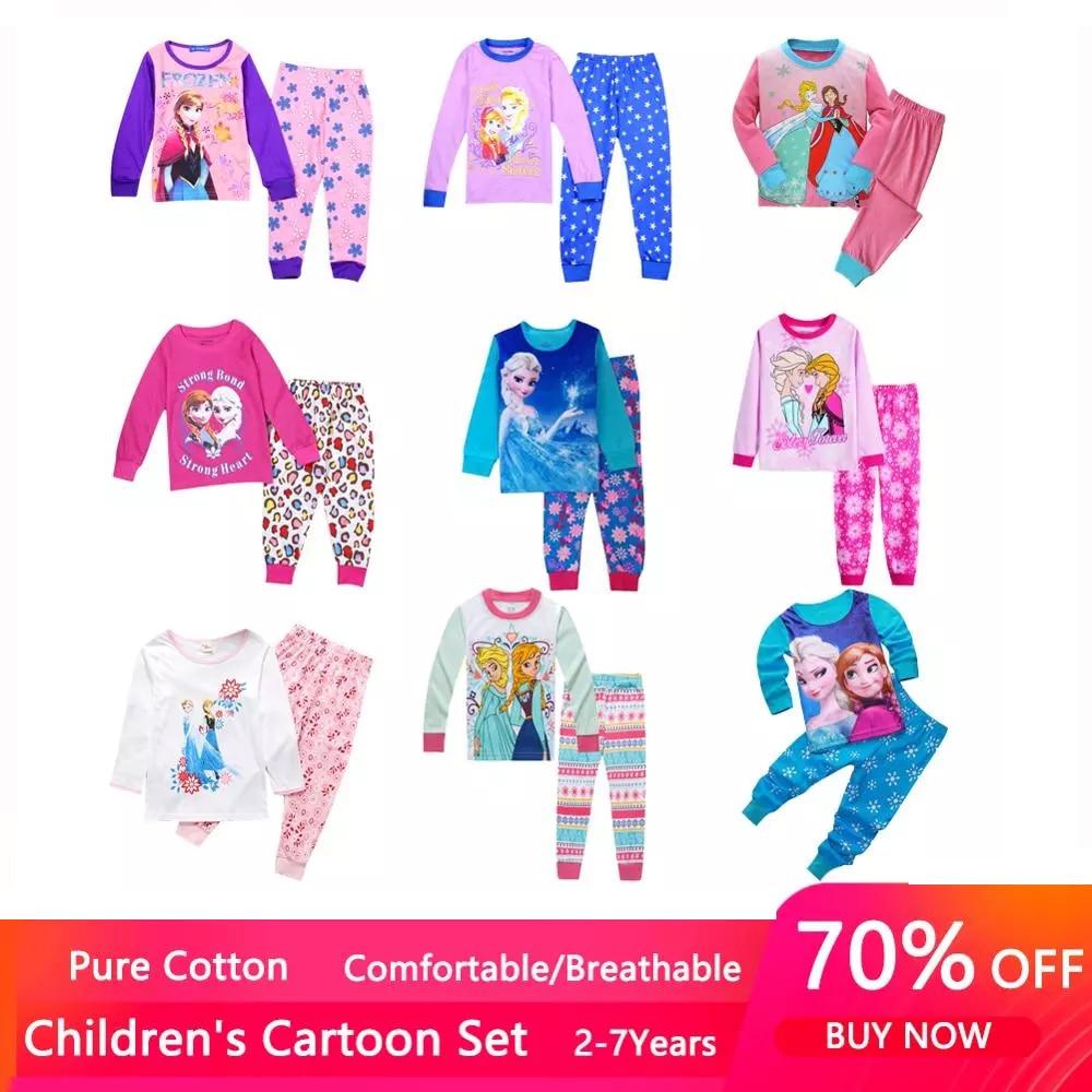 New Kids Anna Elsa Princess Series Pajamas Sets Baby Girls Boys Clothes Pijamas Cartoon Long Sleeve Tshirt+Pants 2pcs/set